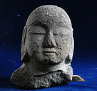 Stone Head of Jizo Bosatsu Butto early-Edo 17 c.