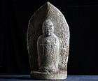 Stone Jizo Bosatsu Bodhisattva Sandstone Edo 18 c.