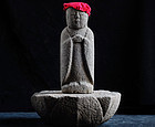 Stone Jizo Bosatsu with Lotus-Form Dais Edo 18 c.