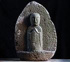 Stone Jizo Bosatsu Japanese Sculpture Edo 18/19 c.