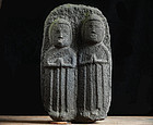 Stone Double-Jizo Dosojin Road Guardian mid-Edo
