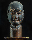 Chinsou Buttou Zen Master Portrait Sculpture Wood 16/17 c.