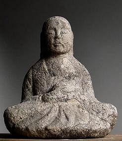 Stone Jizo Bosatsu Bodhisattva Buddha Granite Edo 18c