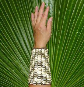 Naga, Cowrie Shell Basket Woven Cuff
