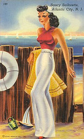 Linen Postcard, Saucy Sailorette, 1941