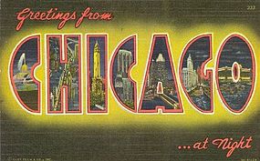 """Chicago"" Linen Postcard, Curt Teich 1950"