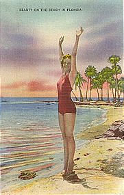 Beauty on the Beach Florida, Postcard