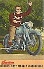 Linen Postcard, Indian Motorcycle