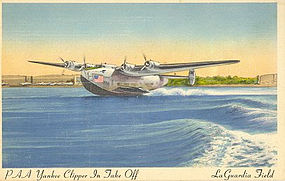 """PAA Yankee Clipper (B314) In Flight"" Linen Postcard"