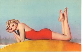 """Woman Lying Down In Short Red Dress"" Linen Postcard"