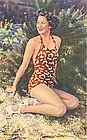 """Woman In Dragonfly Swimsuit"" Linen Postcard"