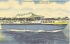 """Sightseer Cruiser"" Vintage Linen Postcard, Curt Teich"