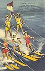 """Pyramid of the Aqua Skiers"" Linen Postcard, Curt Teich"