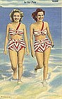 """In for Fun"" Vintage Linen Postcard, Curt Teich"