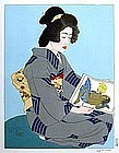 Paul Jacoulet,The Geisha Kiyoka, 1935
