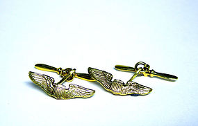 Vintage 14K Aviator Wings Cufflinks