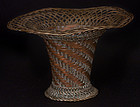 19th Century Japanese Woven Copper Ikebana Basket