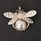 Vintage Honey Bee Pendant Sterling Silver & Gold Wash