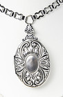 Large ART DECO Silver Locket Necklace