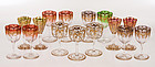 15 Antique Moser Gilt Enamel Crystal Cordial Glasses