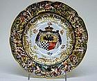 A Capo Di Monte Armorial Cabinet Plate