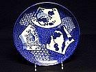 Japanese Imari Blue & White  Plate,  meiji Period