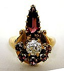 A Retro Style 14k Gold,diamond And 