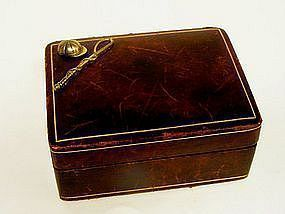Vintage Men's Leather Cufflink Box With Horse Racing 