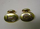 Edwardian 10k Monogrammed Bean Back Cufflinks