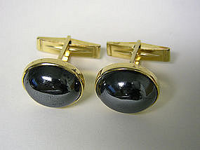 Vintage 14k Gold And Hematite Toggle Back 