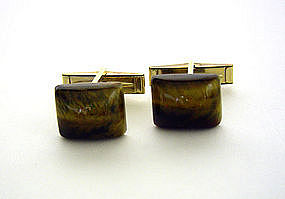 Vintage Gold Filled Tiger Eye Toggle Back Cufflinks