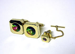 Vintage Watermelon Crystal Cuff Links & Tie 
