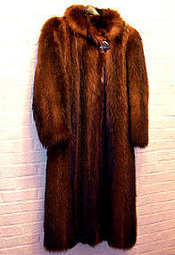 Vintage Military Style Raccoon Fur Coat