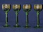 Four Bohemian Wine Goblets By Graff Harrach