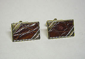 Vintage Gold Tone And Croc Toggle Back 