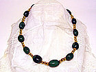 Antique Gold Bead And Jade Necklace