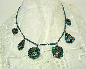 Vintage Turquoise Pendant And Silver Necklace