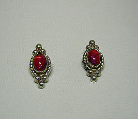 Vintage Silver And Red Crystal Earrings