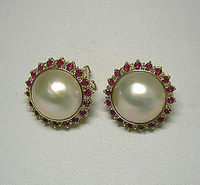 A Pair Of 14k Mabe Pearl Ruby And Diamond Earrings