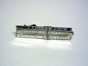 Silver Slide Rule Tie Clip With Magnifying 