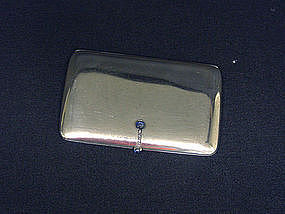 Danish Sterling Silver And Jeweled Case, Georg Jensen