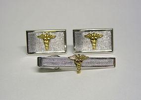 Vintage Silver Caduceus Symbol  cufflinks & Tie Clip