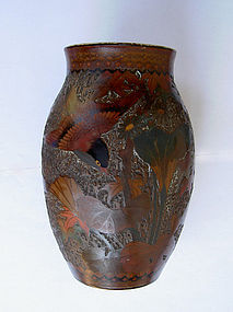 Japanese Totai cloisonné tree bark lacquer vase, c 1930