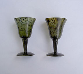 Pair of small spinach jade goblets, Chinese, c 1900