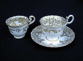English Coalport trio, c 1830