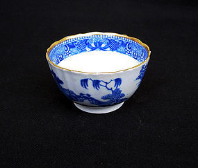 English 18th c blue and white transfer printed tea bowl