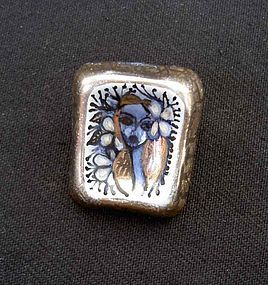 Poetic flower girl ceramic brooch