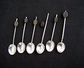 "English silver plated espresso spoons/""bean end spoons"