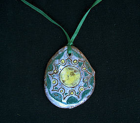 Vintage: 1950's ceramic pendant, signed Vallauris