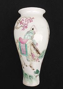 Chinese Republic period semi-eggshell Famille rose vase
